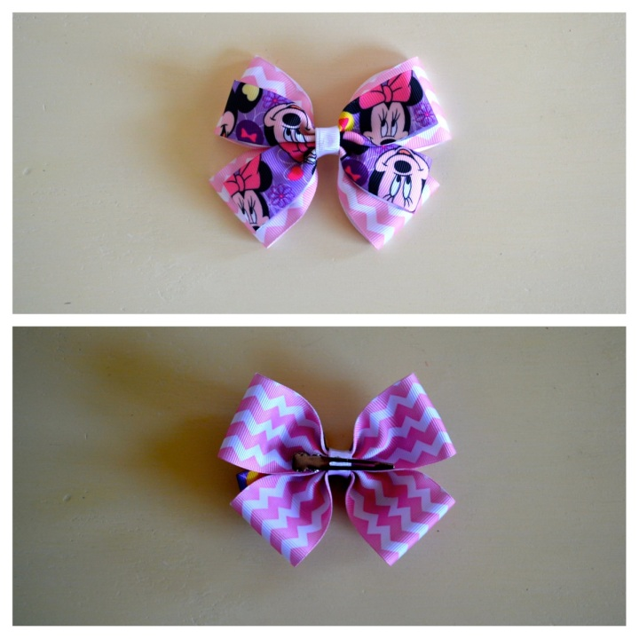 Pink Chevron minnie mouse bow